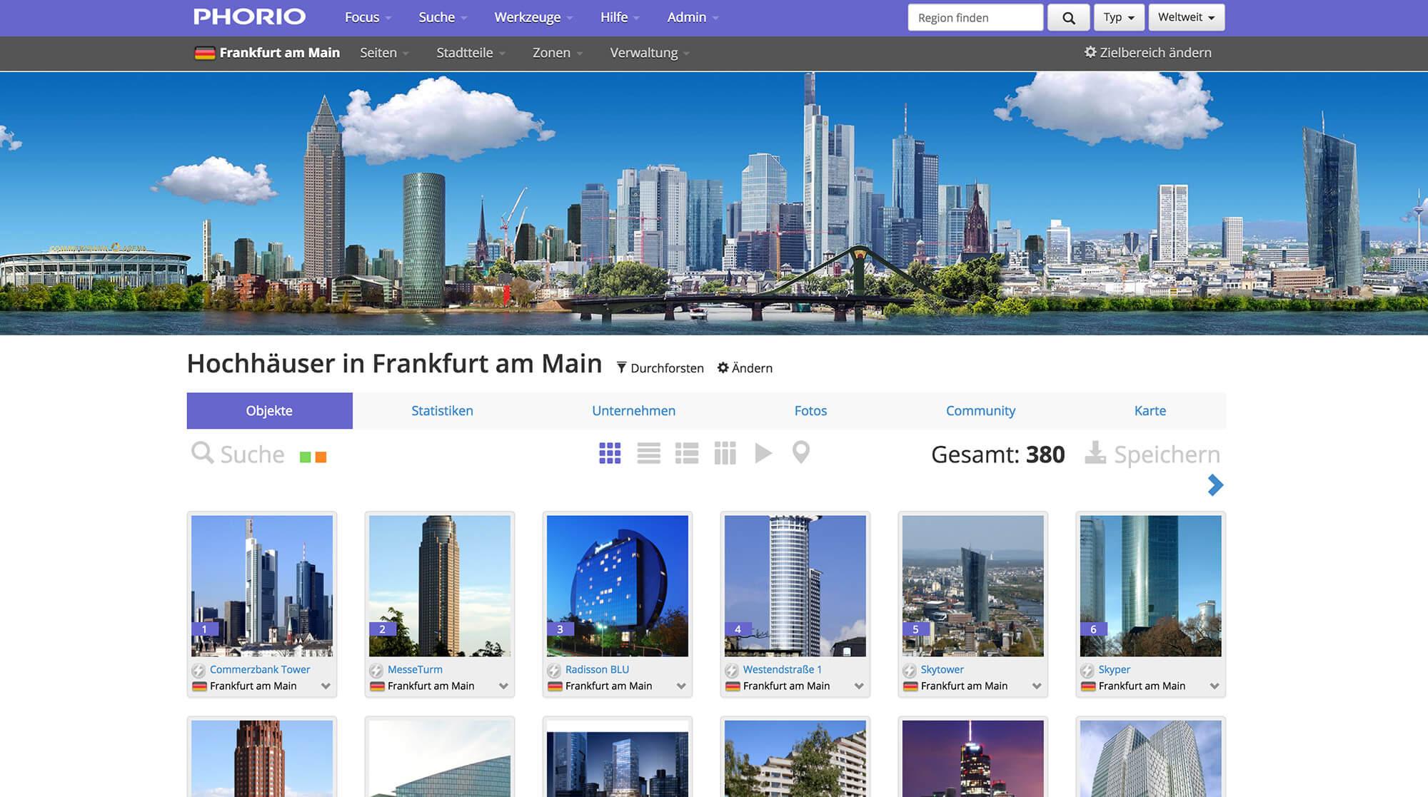 Alle Hochhäuser von Frankfurt auf Phorio