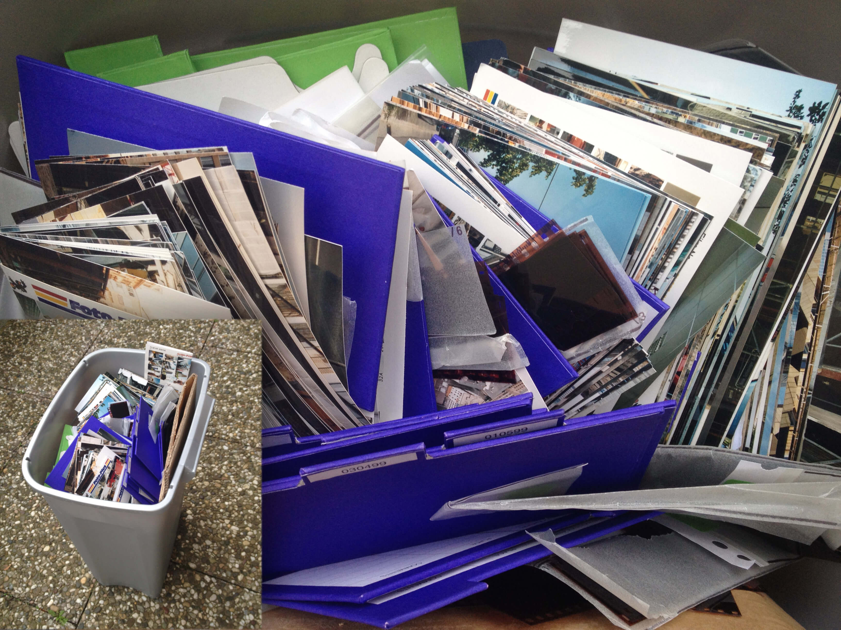 analoge Filme - analoge Fotos - Mülleimer - weggeschmissen