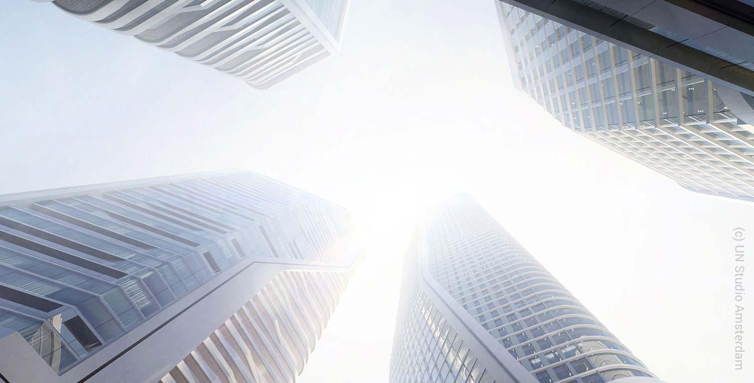 Geplante Wolkenkratzer auf dem Areal der Deutsche Bank