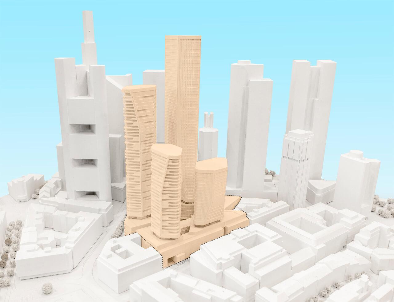 Neue Hochhäuser in Frankfurt geplant von Groß und Partner