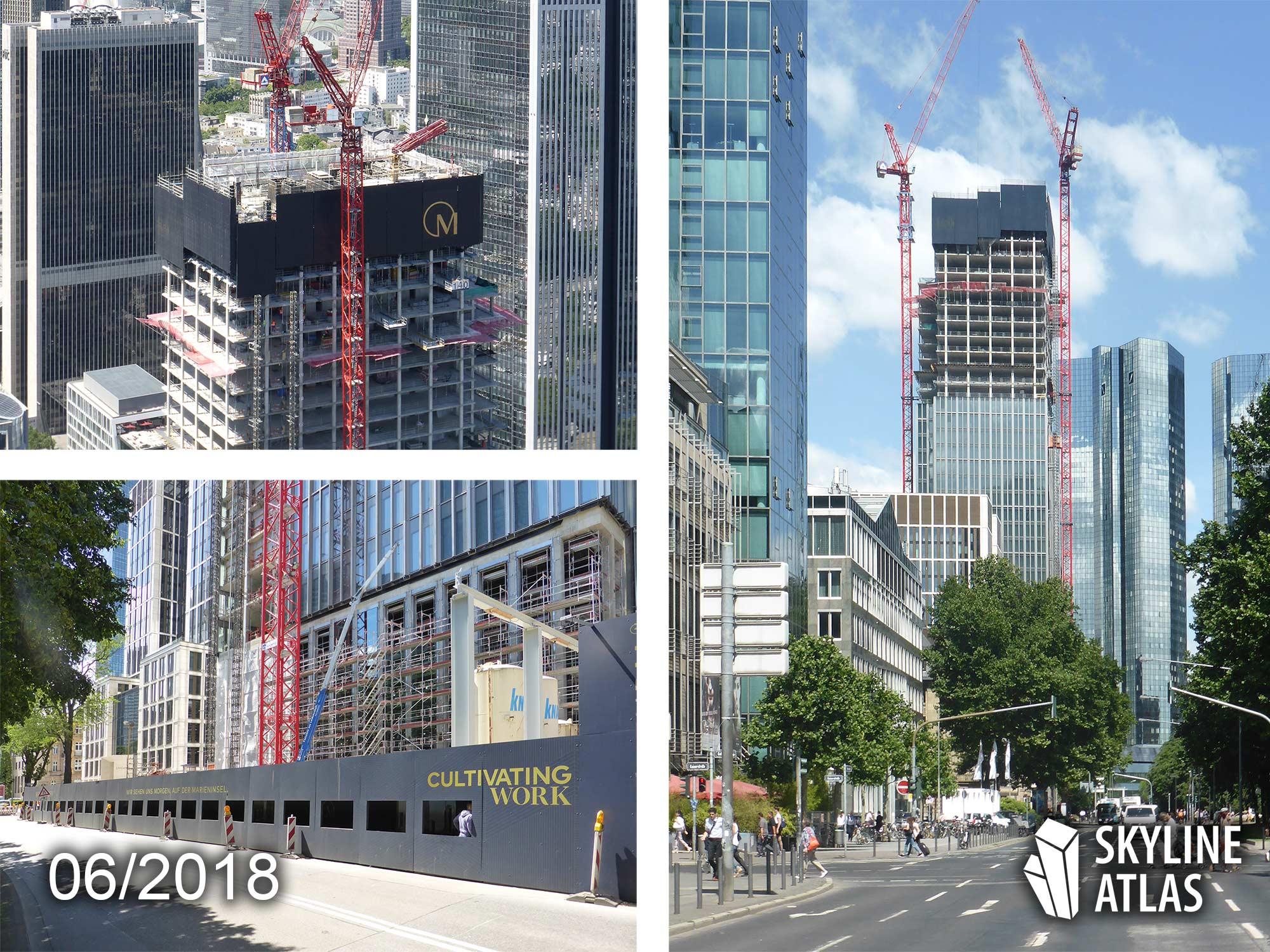 Marienturm in Frankfurt - June 2018 - skyscraper under construction - CBD