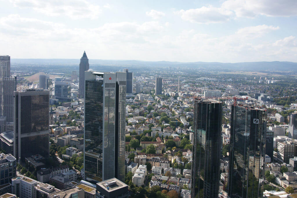 Skyline Frankfurt vom MAIN TOWER aus gesehen
