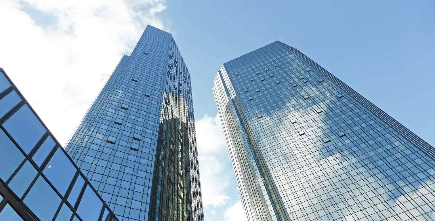 Deutsche Bank - skyscraper - headquarters - twin towers - Frankfurt, Germany