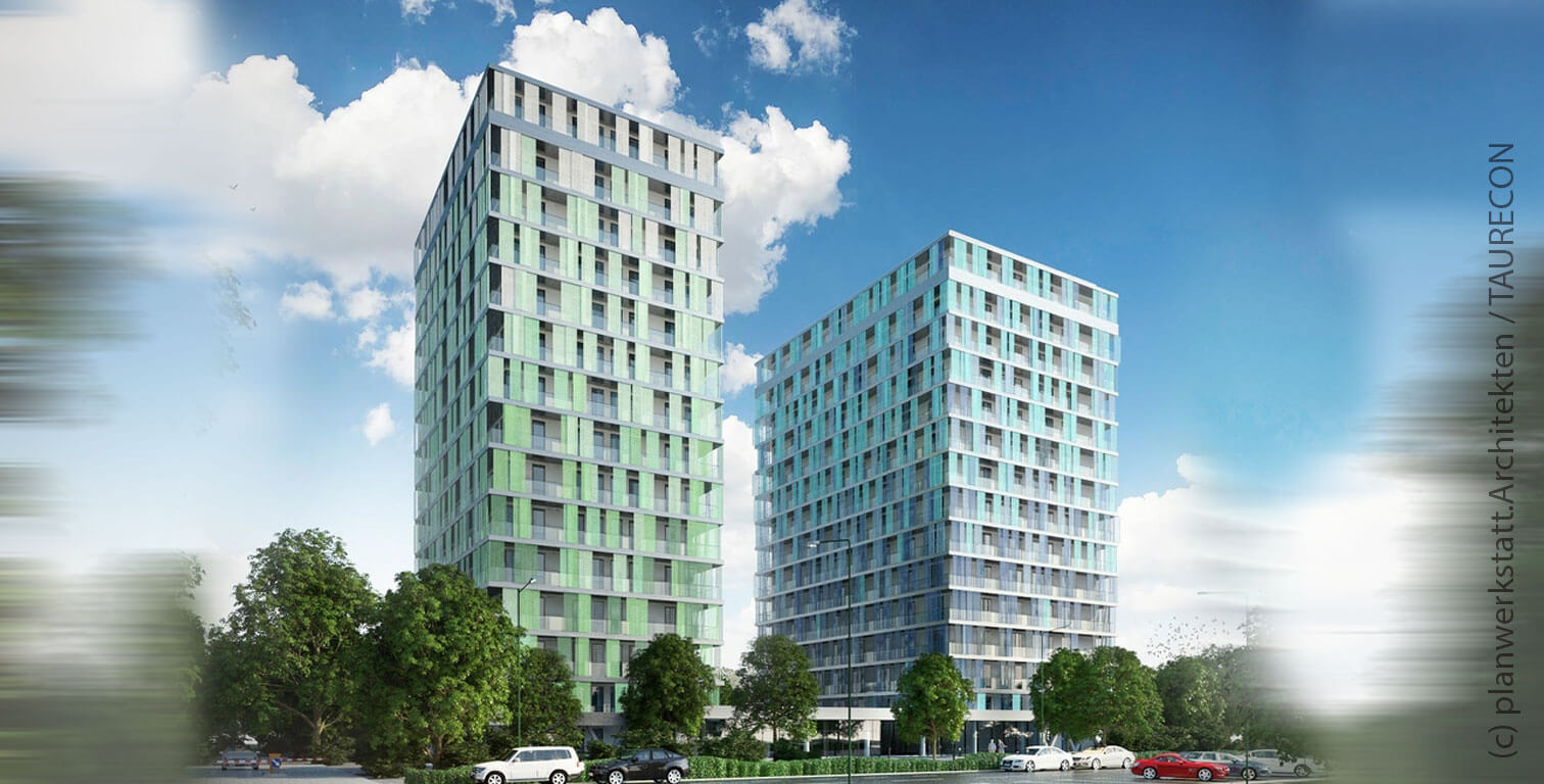 Condominium towers in Frankfurt - planned Blue Towers