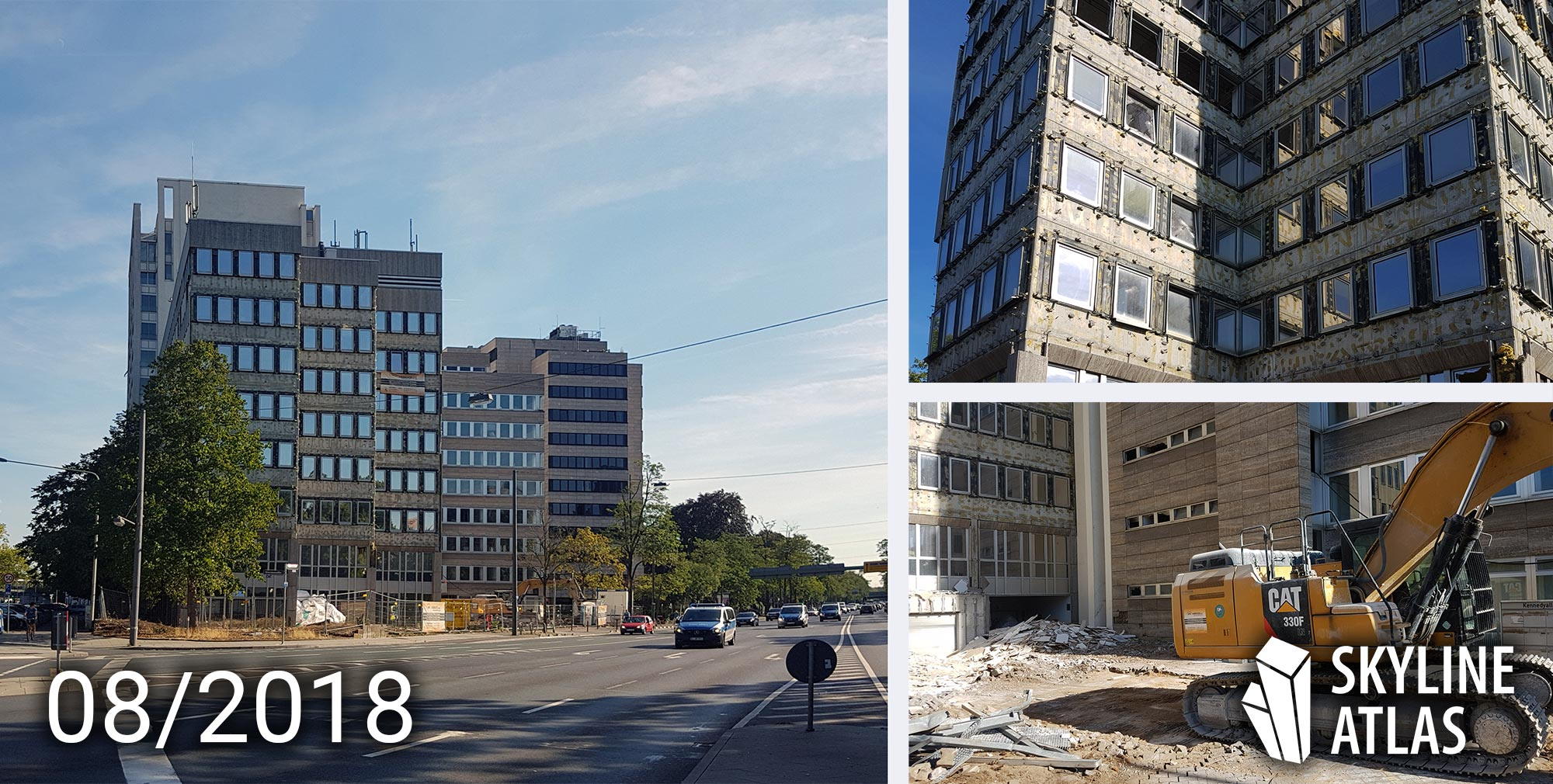 Demolition of office towers at Kennedyallee in Frankfurt - as of August 2018
