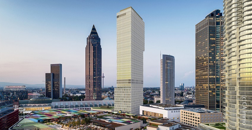 Proposed skyscraper in Frankfurt - the project named ONE next to MesseTurm