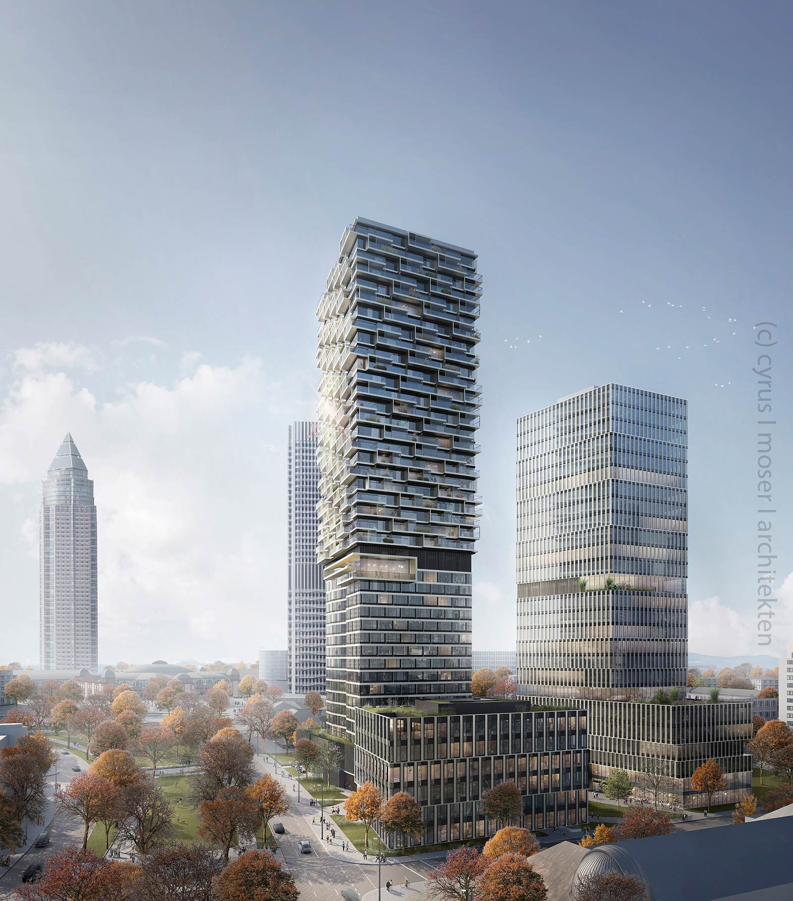 Planned High-rise Frankfurt - One Forty West - Senckenberg Quarter - (c) Cyrus Moser Architects - Commerz Real
