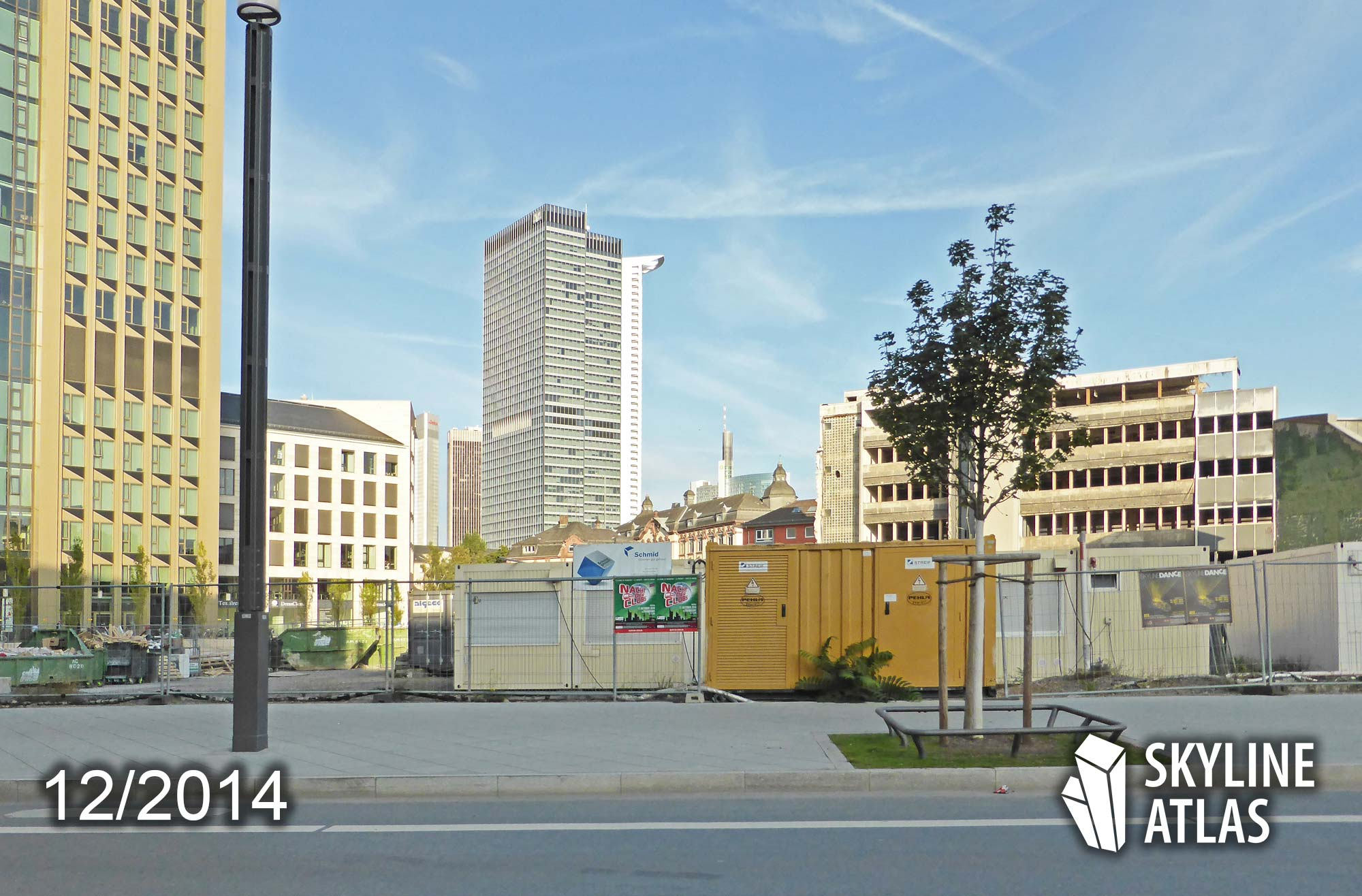 The yet unoccupied construction site of Millennium Tower in Frankfurt - on the left side Tower 185