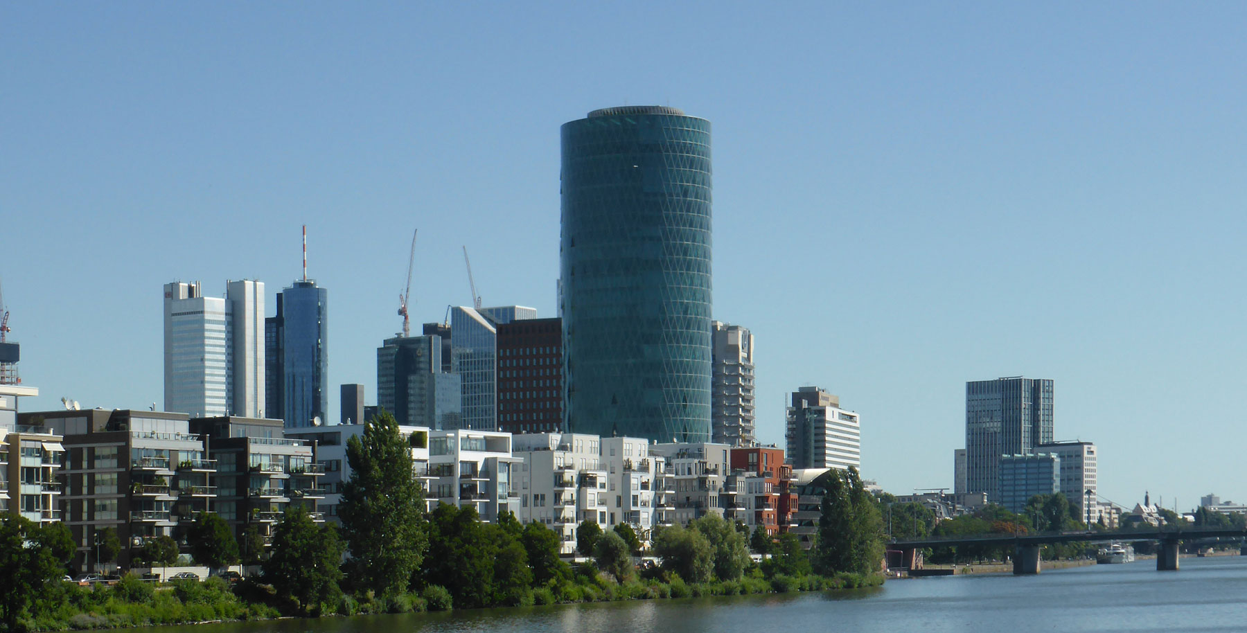 Westhafen Tower in Frankfurt (Germany) - Seat of the EIOPA - highrise building at the Main river shore designed by schneider+schumacher architekten