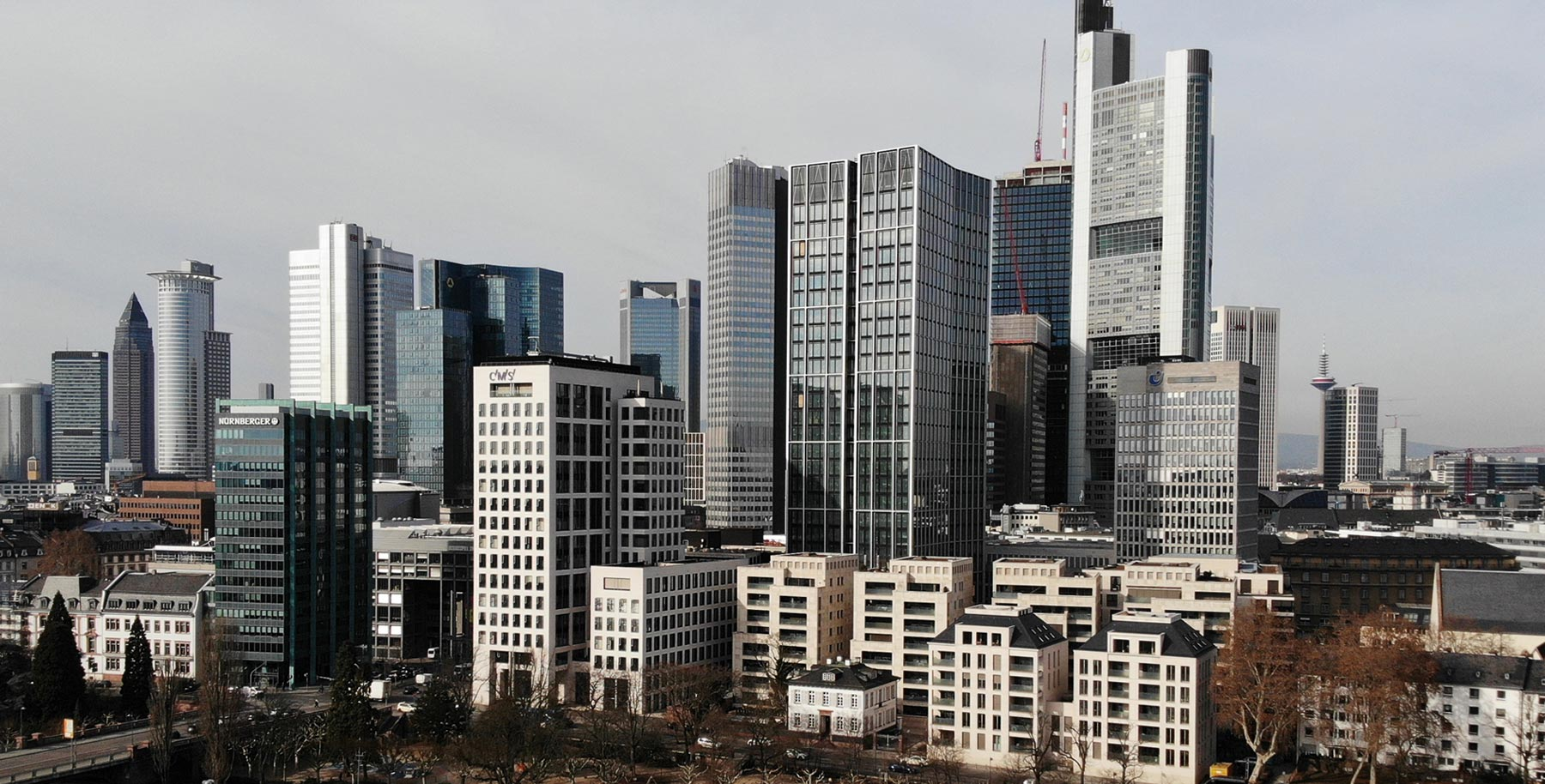 WINX Tower in Frankfurt Germany - MainTor complex - office space - skyscraper in the financial district - skyline of Frankfurt at the river shore