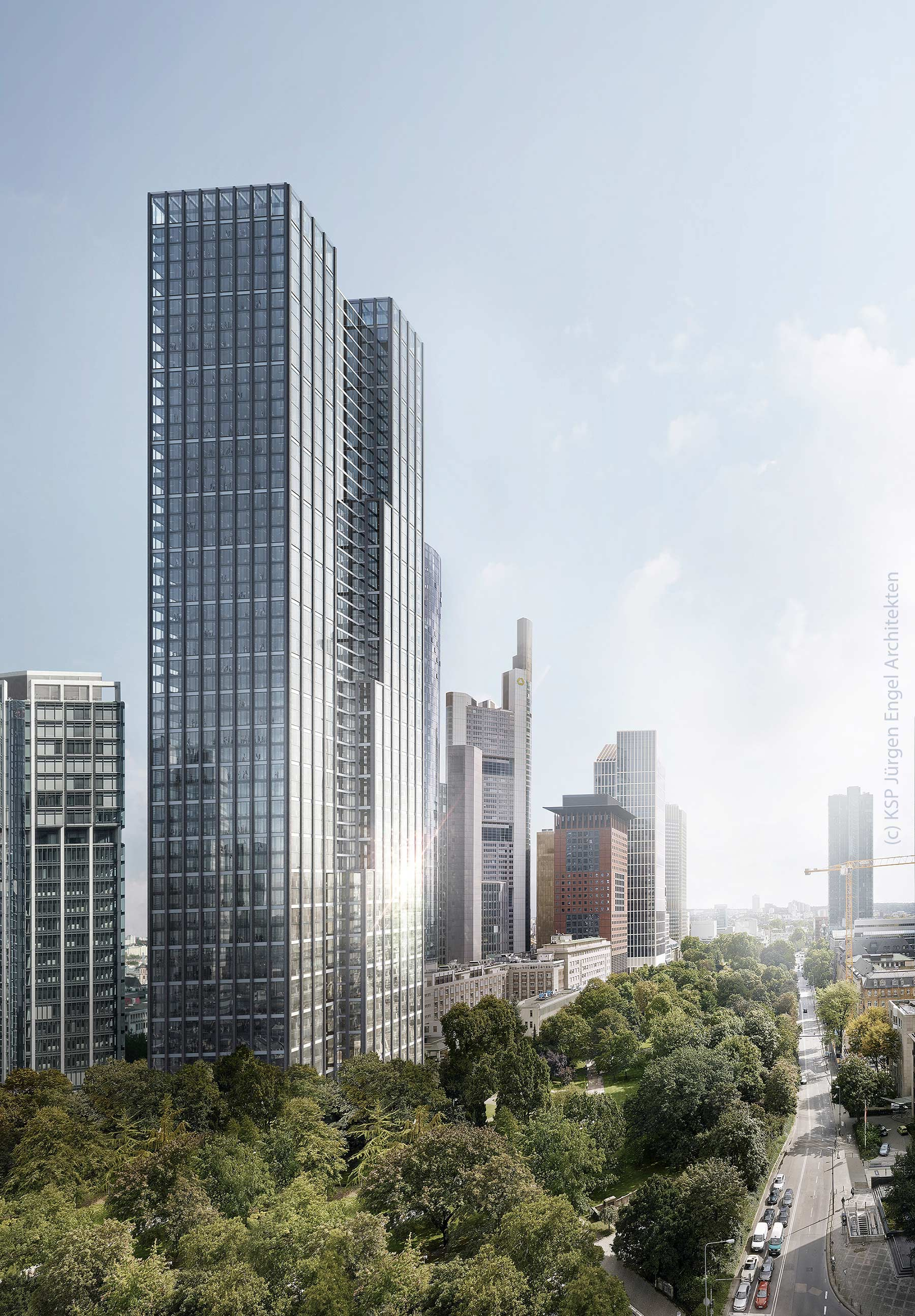 High-rise complex Neue Mainzer Strasse in Frankfurt Germany - Helaba skyscraper - KSP Jürgen Engel Architekten - Rendering as of 2019