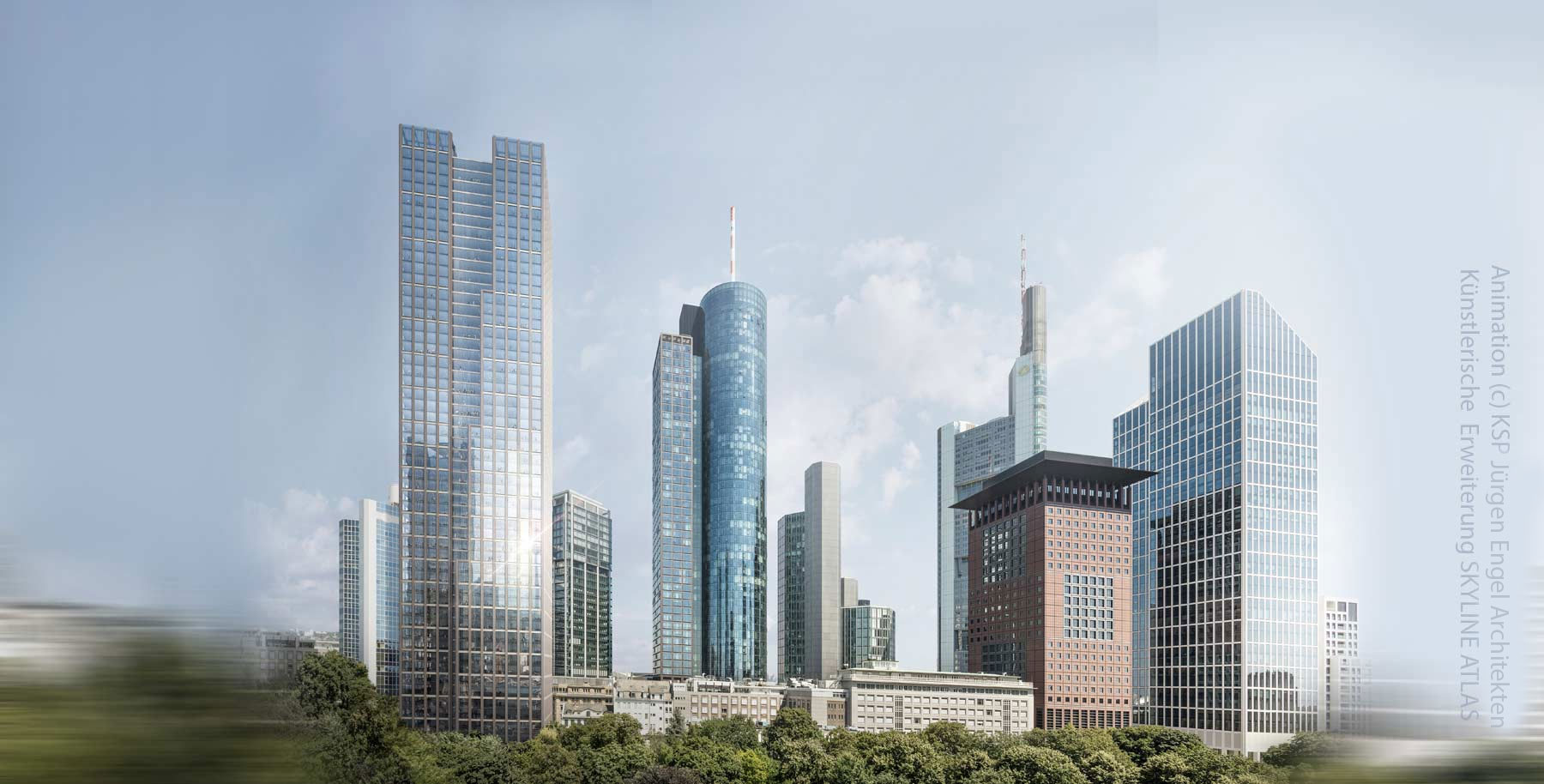 Helaba skyscraper in Frankfurt Germany - former Frankfurter Sparkasse 1822 and Württemberger Hypothekenbank project - KSP Jürgen Engel Architects - Animation 2019 - proposed office tower