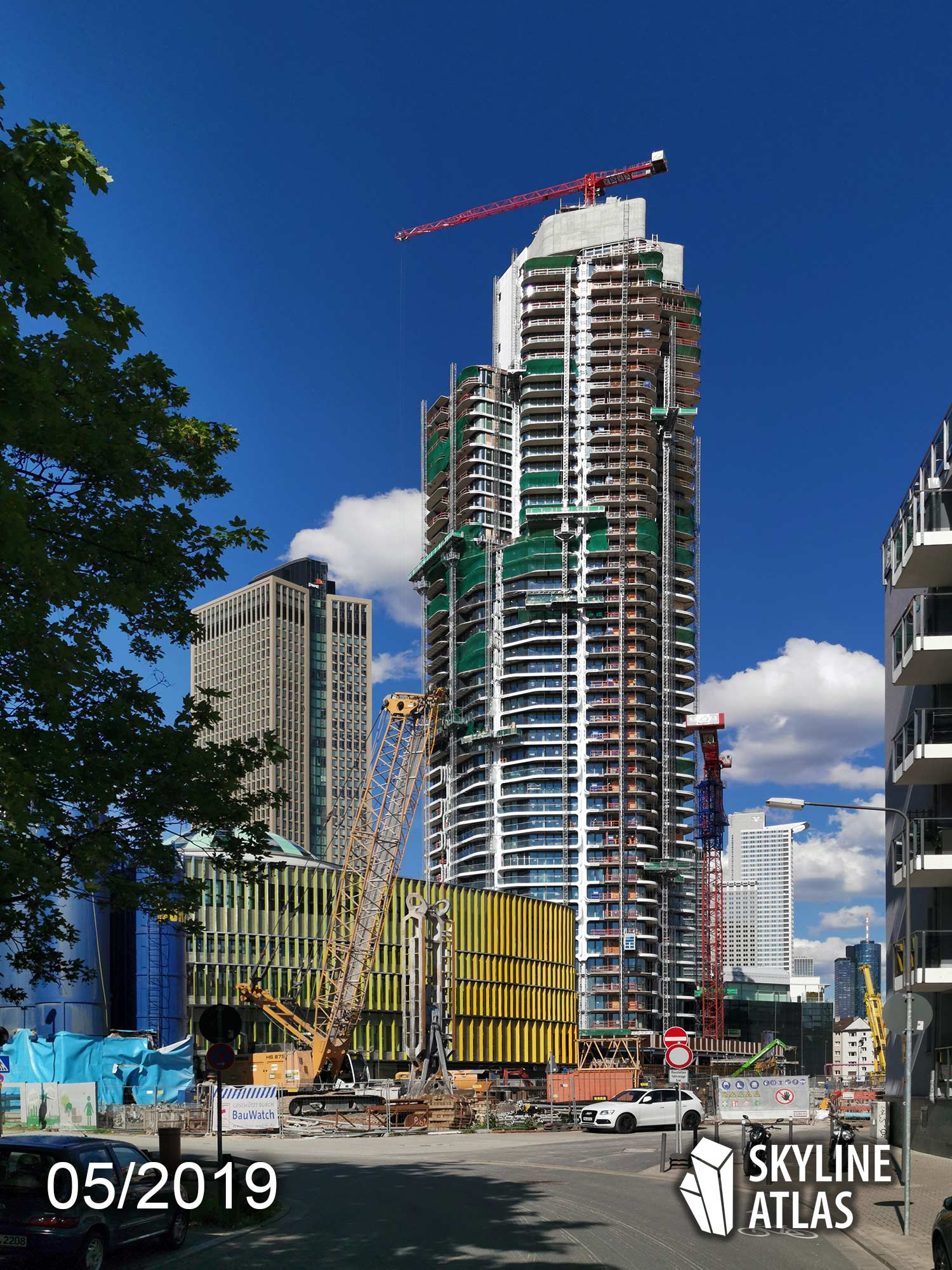 Grand Tower in the Europaviertel Frankfurt, Germany - apartments - condo tower - skyscraper - under construction in May 2019