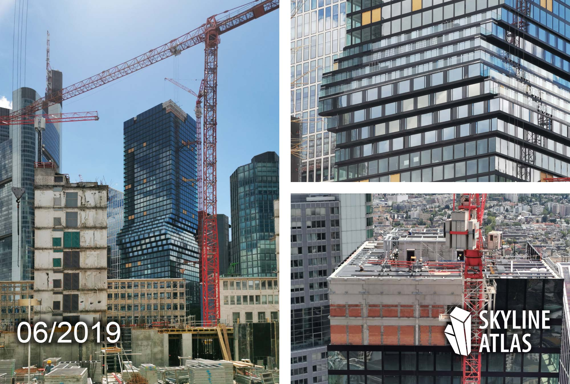 OmniTurm in Frankfurt - one of the tallest new skyscrapers in Europa - Construction site as of June 2019