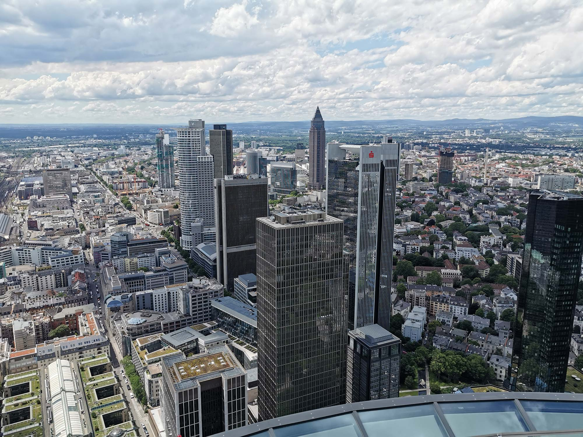 View from MAIN TOWER over Frankfurt - observation point - sightseeing Frankfurt - observation deck with panorama view