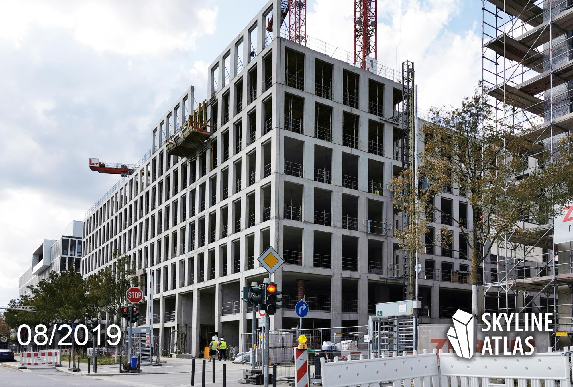 DB Tower - Offices of Deutsche Bahn AG on Europaallee in Frankfurt - High-rise Europaviertel Deutsche Bahn AG - Construction site August 2019