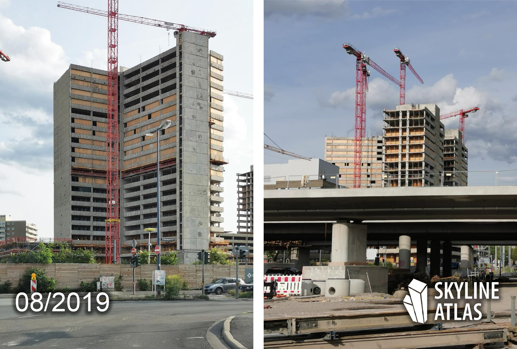 New Frankfurt Towers in Offenbach - Apartments to rent - Kaiserlei area - concrete highrise under construction in August 2019 by CG Gruppe