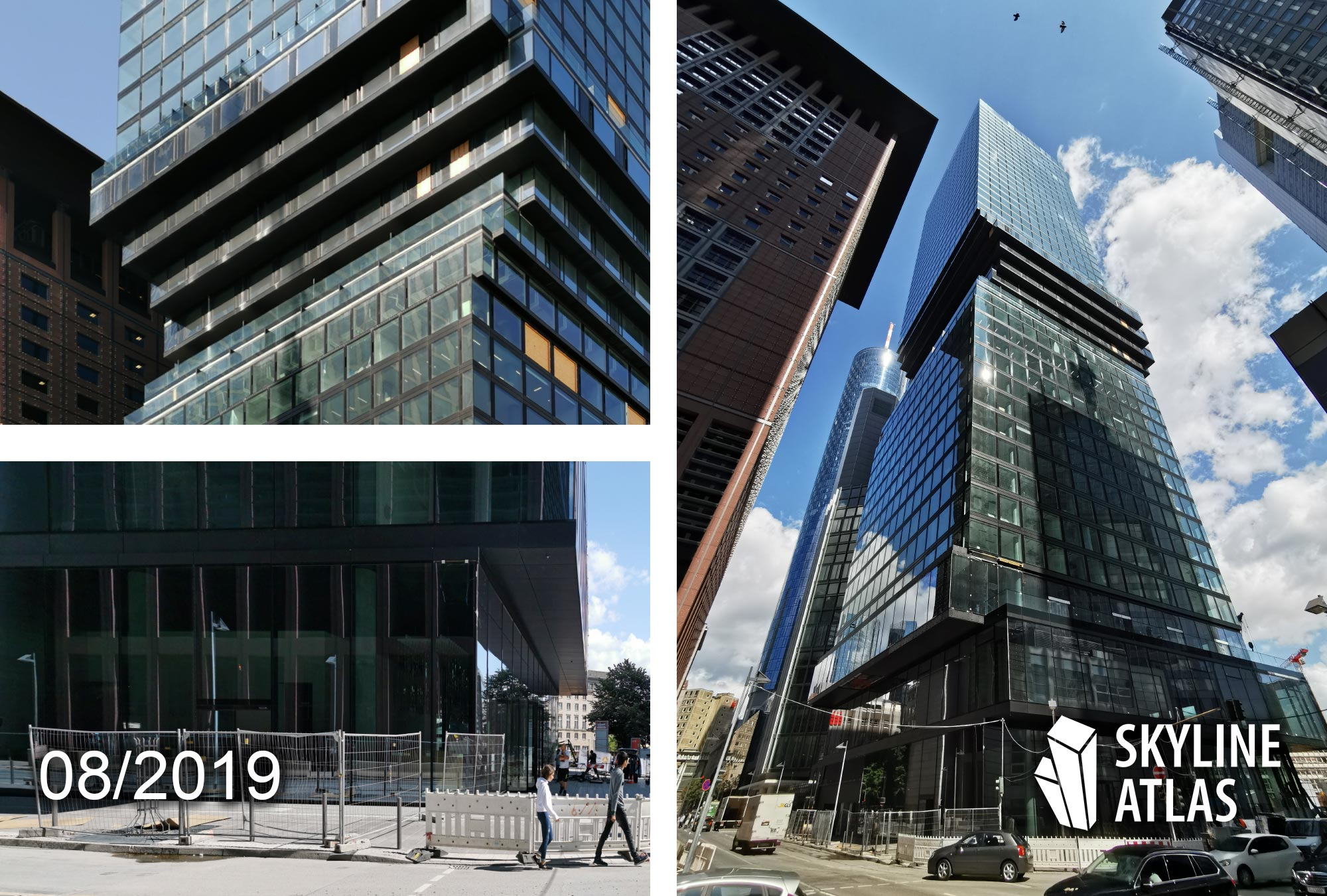 OmniTurm in Frankfurt - Omni Tower in the CBD - mixed-use skyscraper designed by BIG Bjarke Ingels Architects - construction site as of August 2019