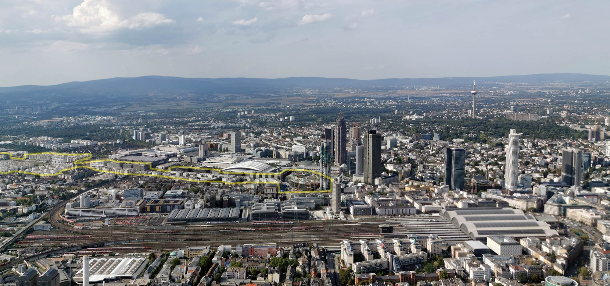 European District Frankfurt - European Quarter Frankfurt - Europaviertel Frankfurt - aerial photo - panorama