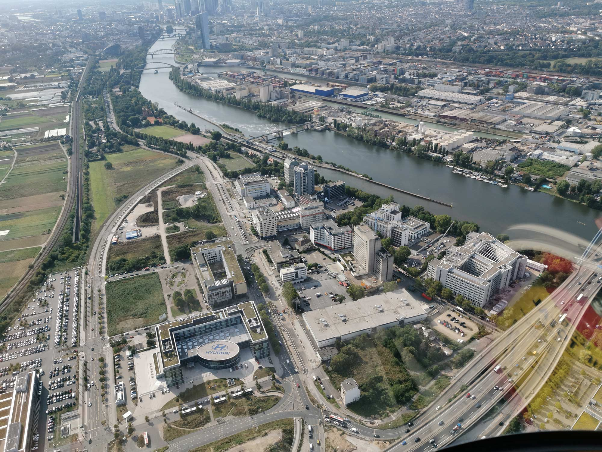 Offenbach Kaiserlei area as seen from the air - aerial photo - helicopter flight to Mainhattan
