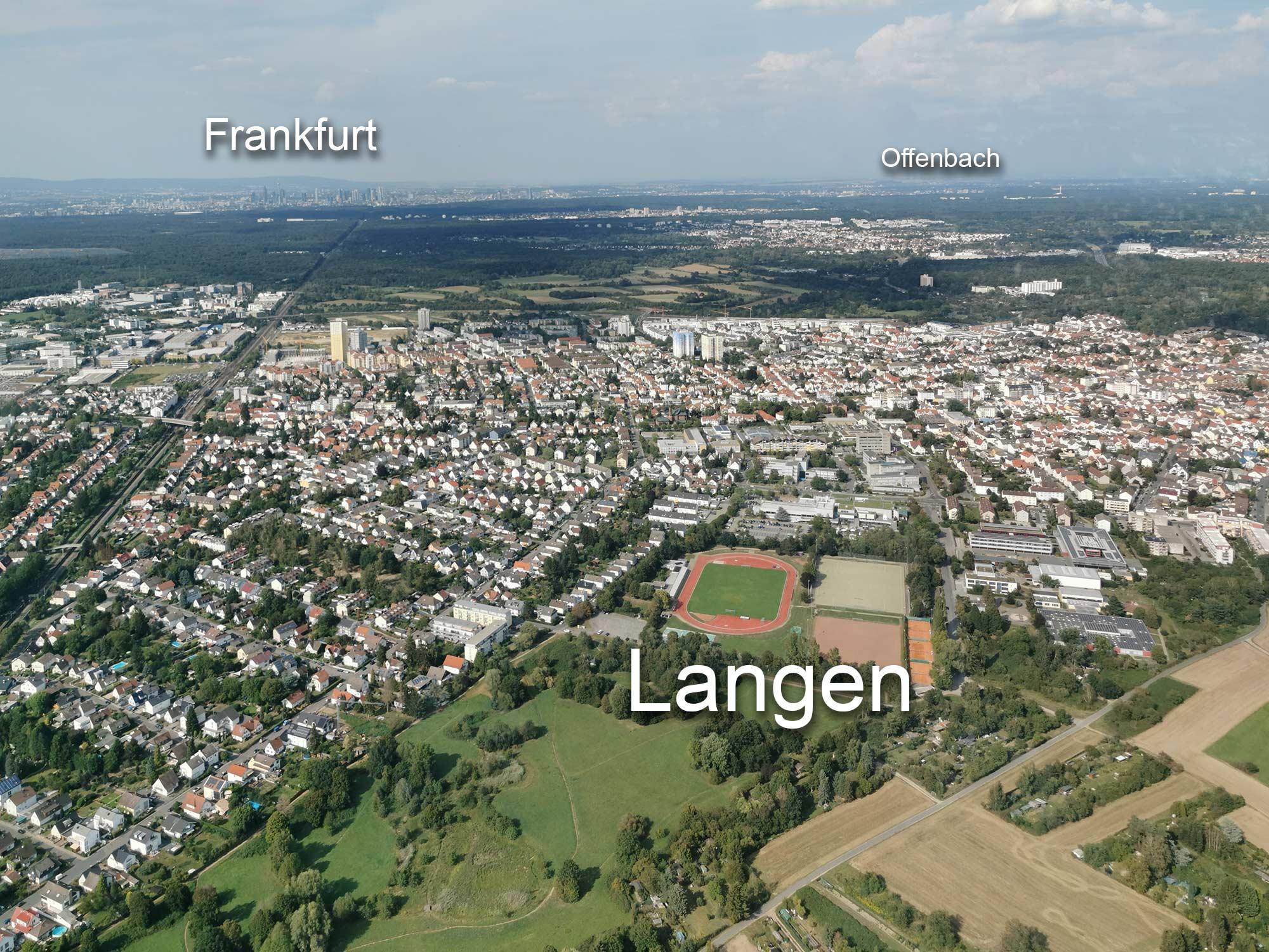 RheinMain area from above - Langen, Frankfurt, Offenbach - helicopter flight Egelsbach - Frankfurt Skyline Ride
