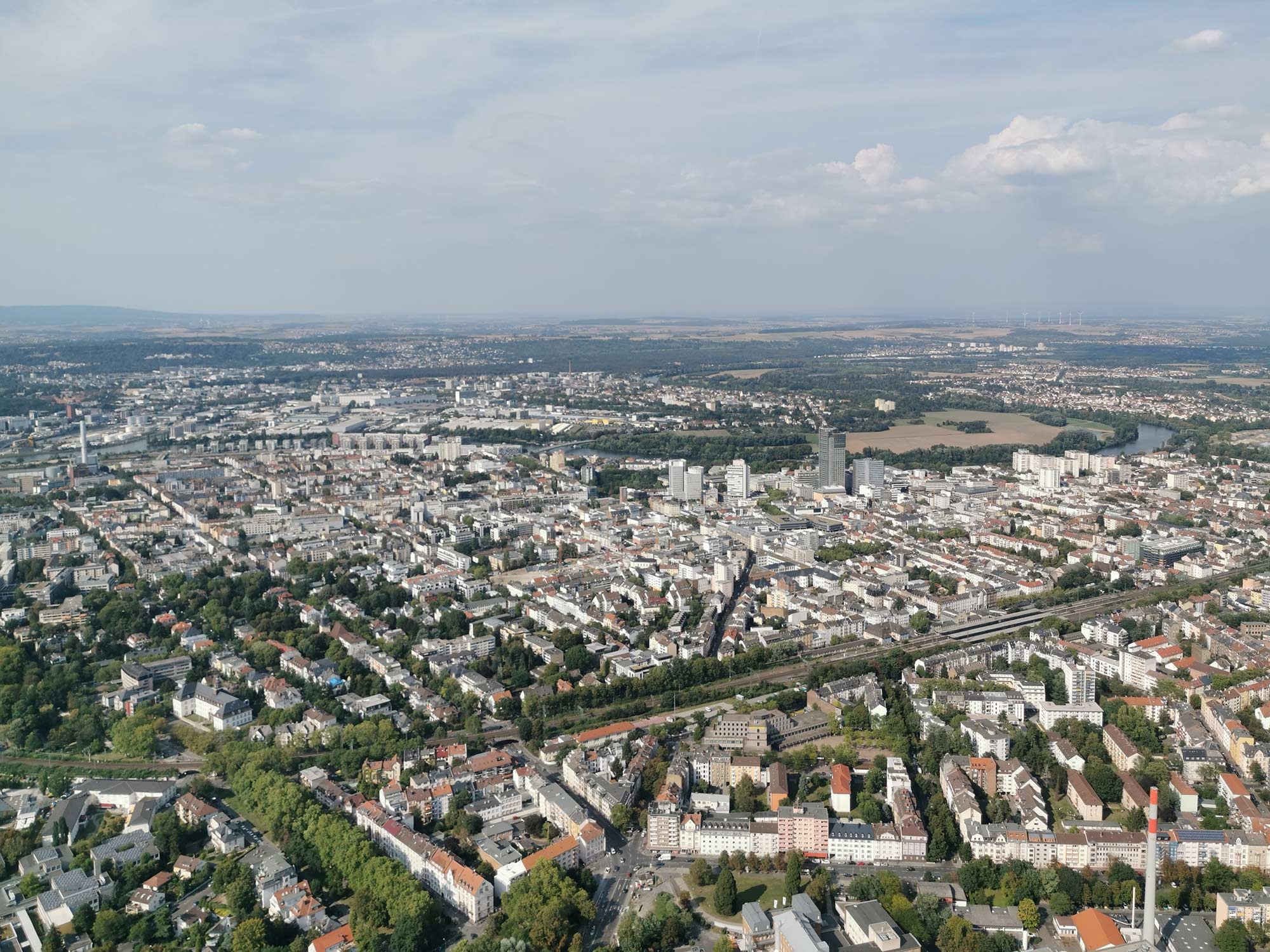 Skyline Offenbach - Panorama Offenbach - houses - Aerial tour to Frankfurt
