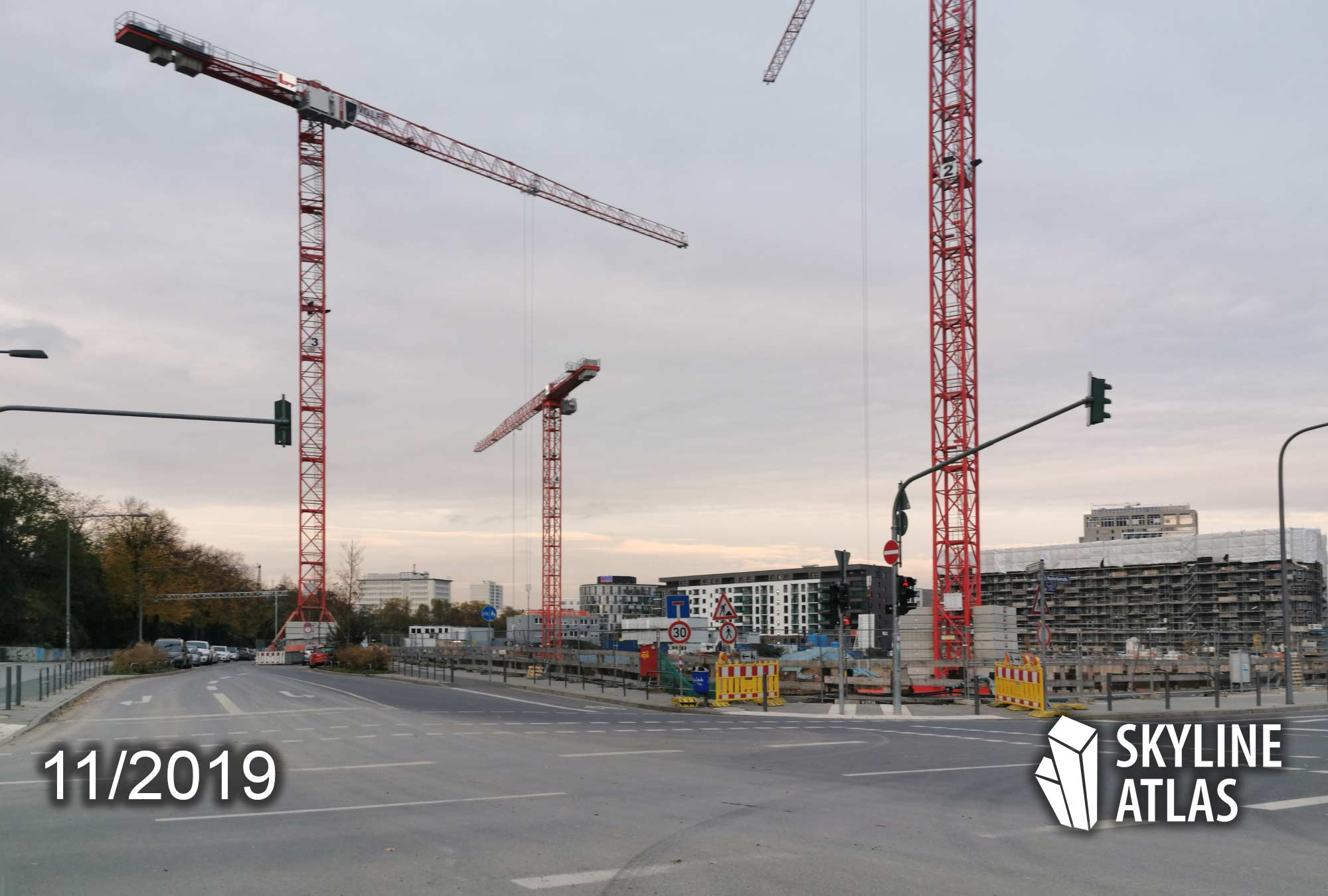 Harbor Park Quarter Frankfurt (Hafenpark Quartier Frankfurt) - left side of the lot: Scandic Hotel will rise here; right side: condominium building will be constructed here - construction site Nov 2019