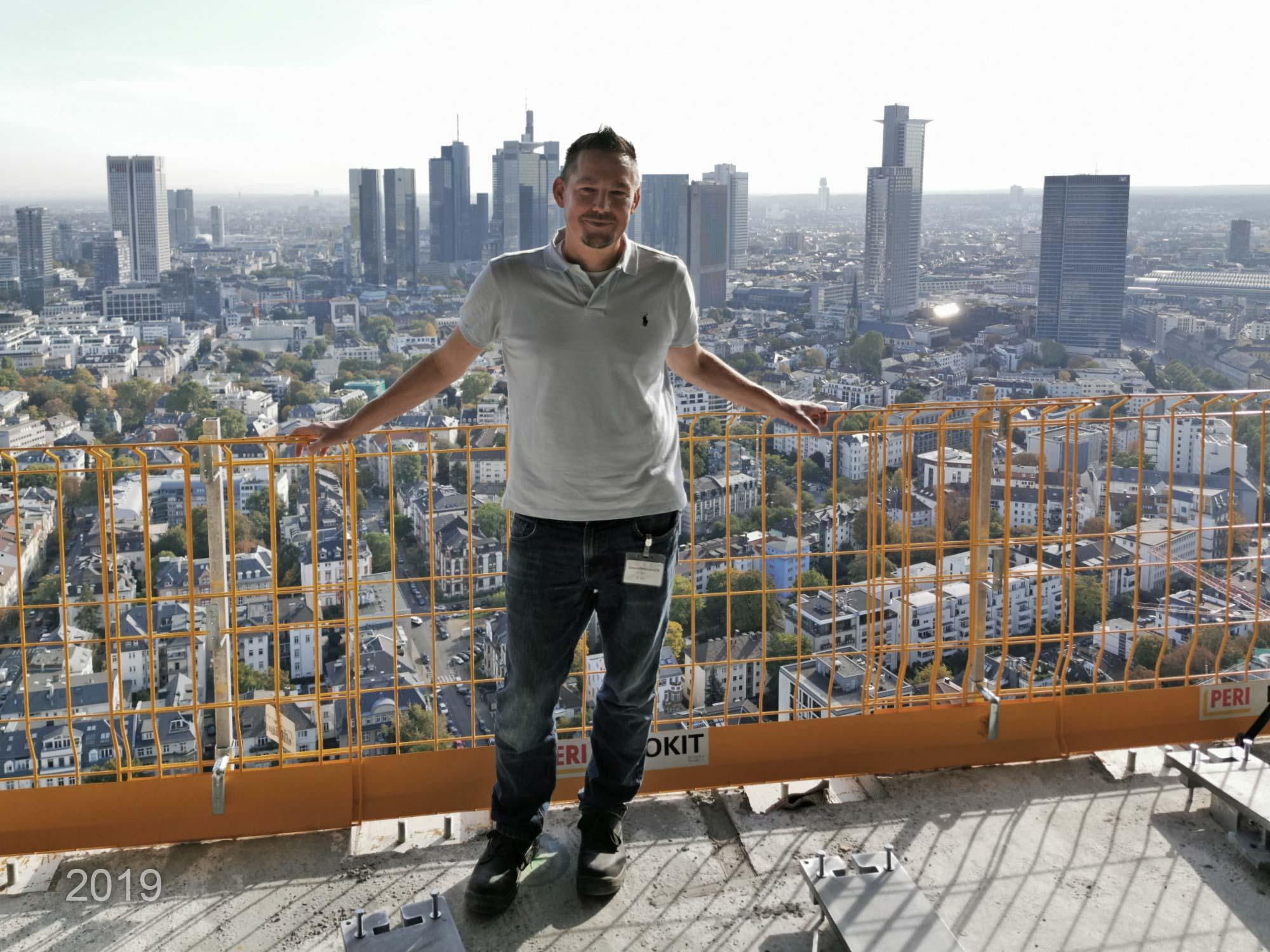 Tall building expert Michael Wutzke in front of Frankfurt's CBD skyline