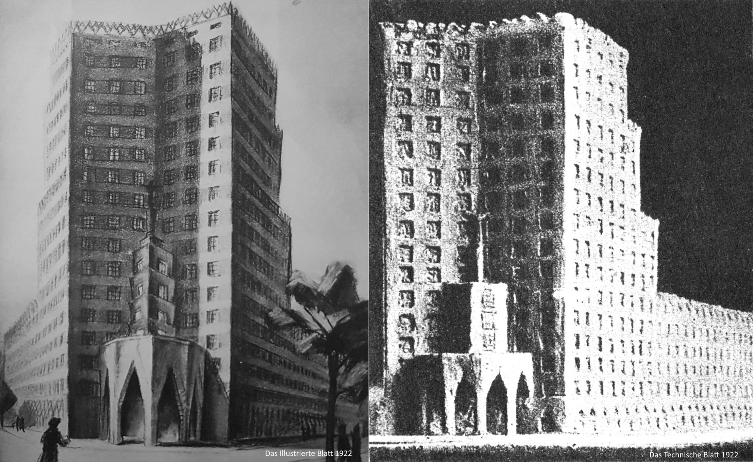 Never built Turmhaus in Frankfurt in 1923