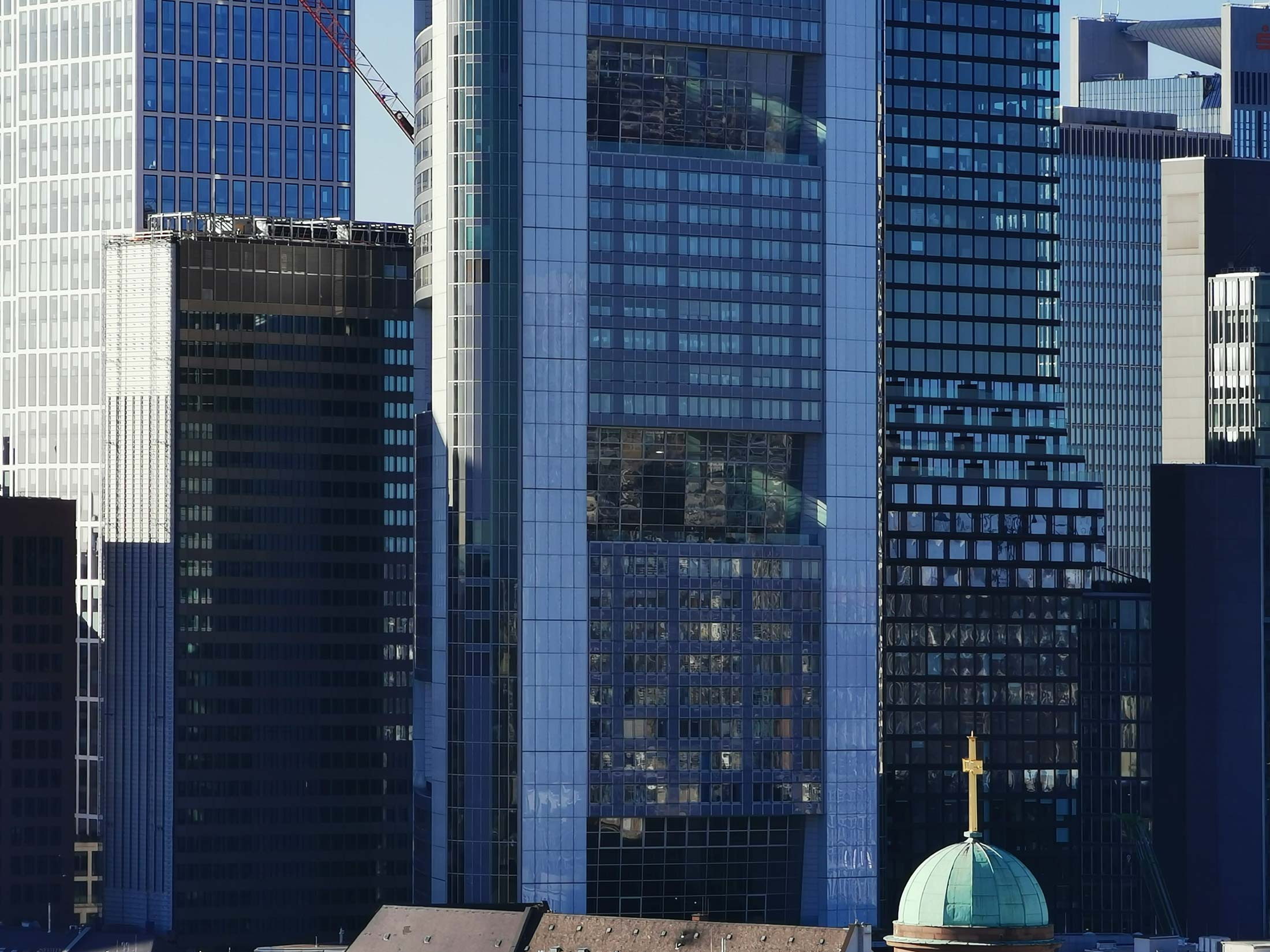 Frankfurt Financial District - CBD - concentration of skyscrapers